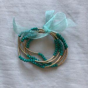 🌟3/$15🌟 Charming Charlie Turquoise/Gold Bracelet